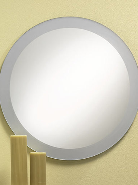 Frosted Border Frameless Round Mirror