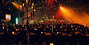 Floating candles in a magic banquet hall