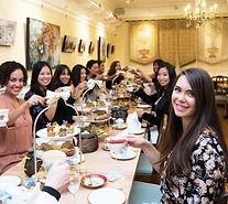 high tea party with tarot reading