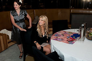 Tarot card reader Julia with socialite columnist sam brett at private party