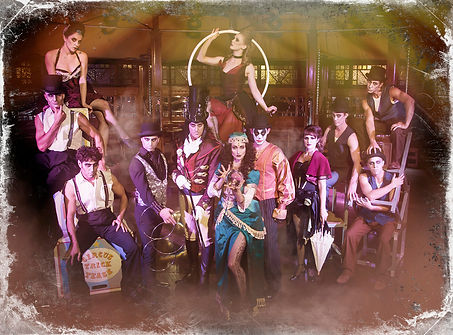 Melbourne Magician Richard Vegas with the cast of The Carnival Of Lost Souls Spiegeltent show