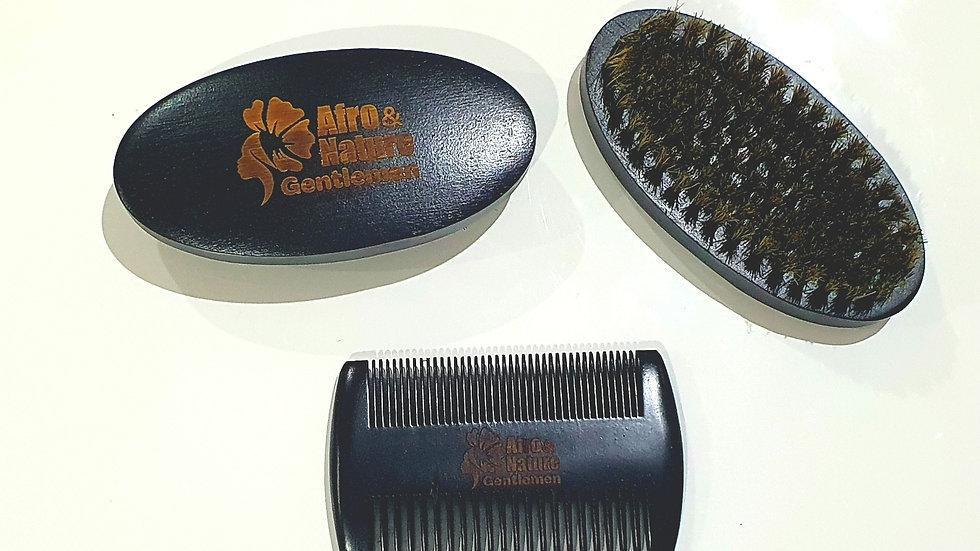 Pack peigne + brosse en bois et poils de sanglier pour la barbe