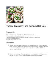 Turkey, Cranberry and Spinach Roll-Ups r