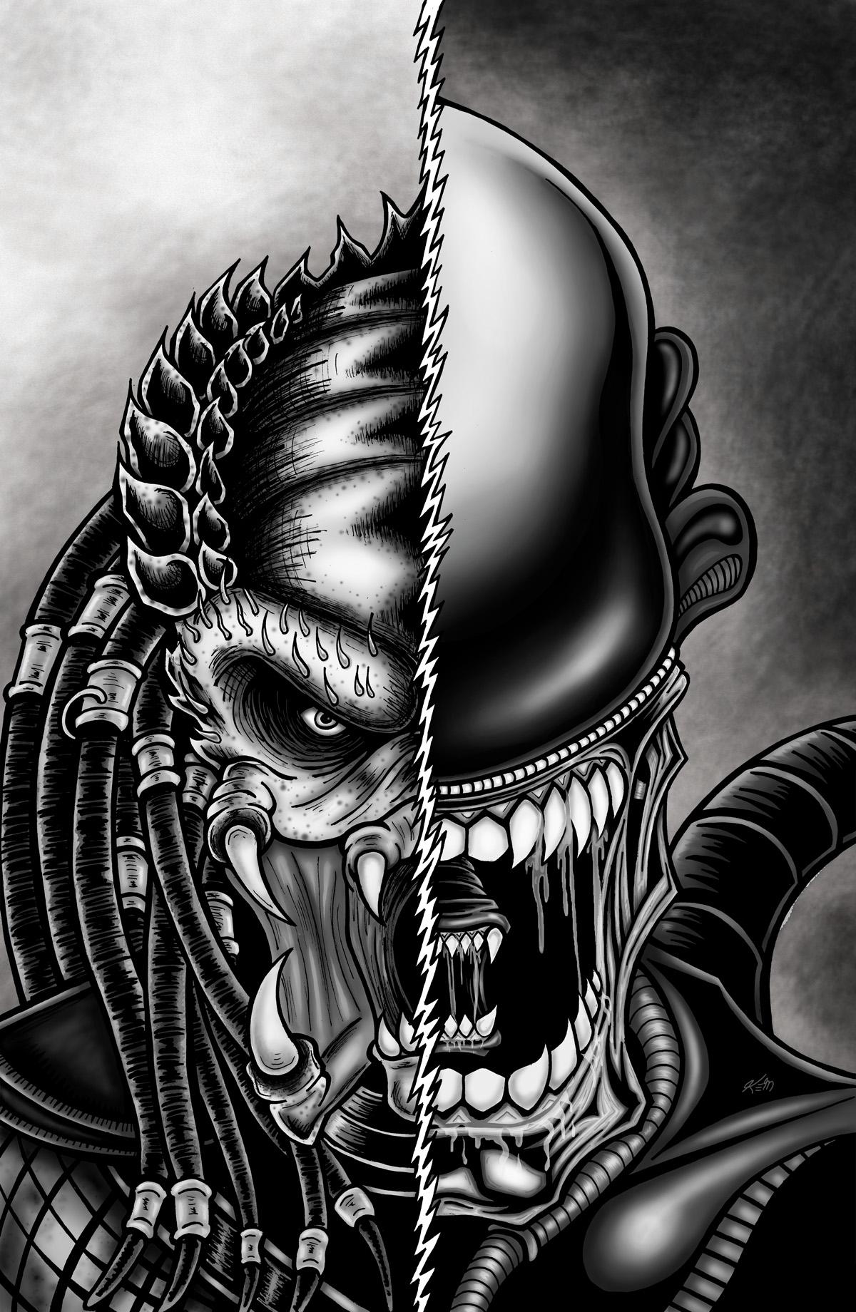 alien vs pred bw