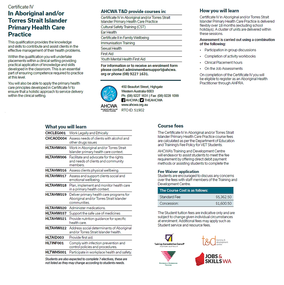 AHCWA Official | Cert IV Primary Health Care Practice