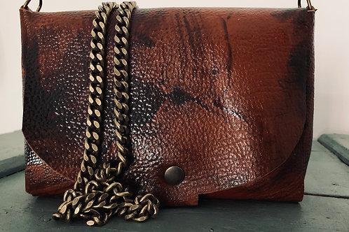 Pochette Cuir sans couture avec chainette bronze (3)