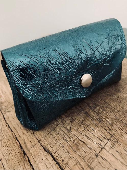 Porte Monnaie Cuir bleu brillant effet froissé