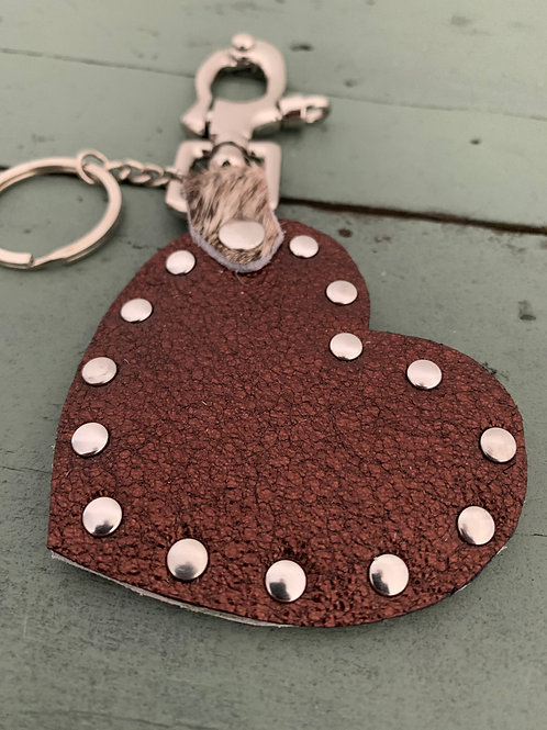 Porte-clés cuir COEUR bronze