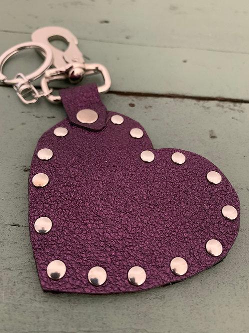 Porte-clés cuir COEUR violet