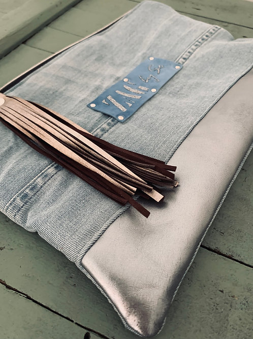 Pochette jean bleu & cuir lisse argenté (n°30)