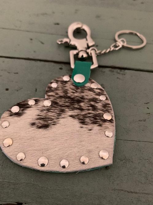 Porte-clés cuir COEUR vert brillant