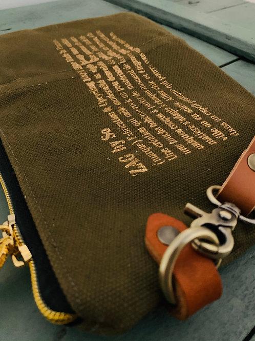 Pochette toile militaire + dragonne cuir (n°14)