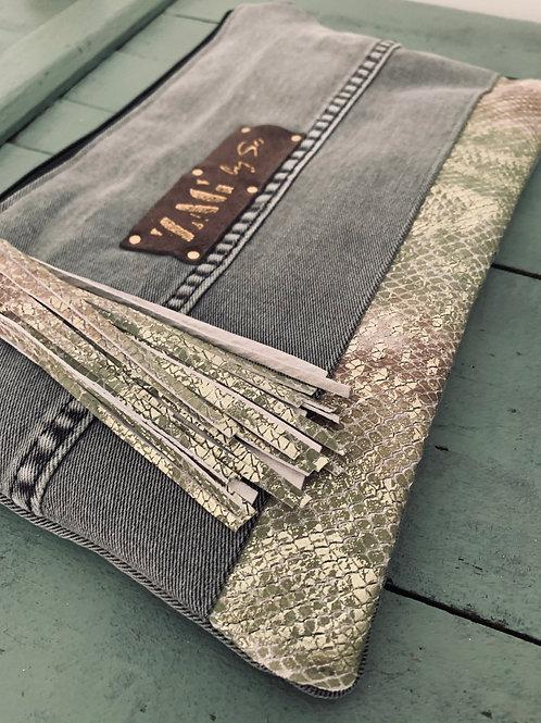 Pochette jean gris & cuir serpent (n°31)