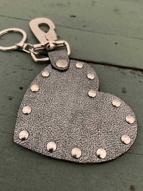 Porte-clés cuir COEUR gris