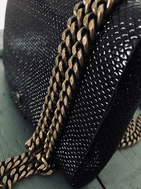 Pochette Cuir sans couture avec Chaînette bronze