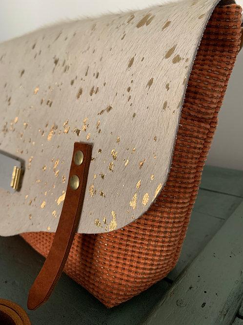 Besace Cuir à poils & tissu orange (n°12)