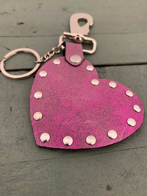 Porte-clés cuir COEUR rose