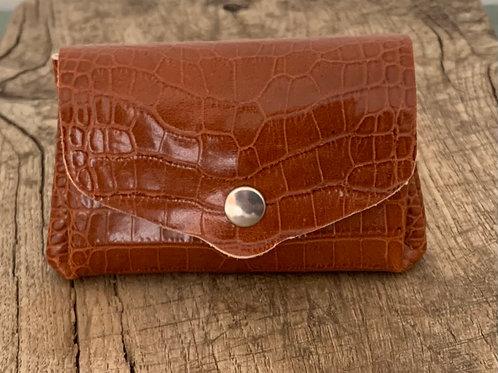 Porte Monnaie Cuir - imprimé croco brun