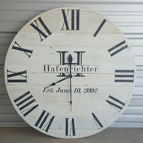 Monogrammed farmhouse wall clock