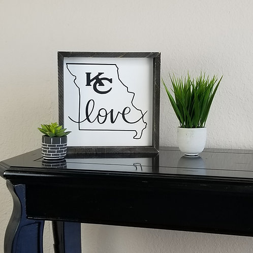 "Missouri KC Love Silhouette Framed Sign 11"" x 11"""