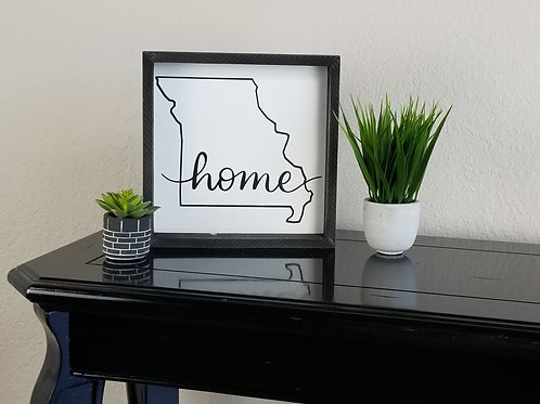 "Missouri Home Silhouette Framed Sign 11"" x 11"""