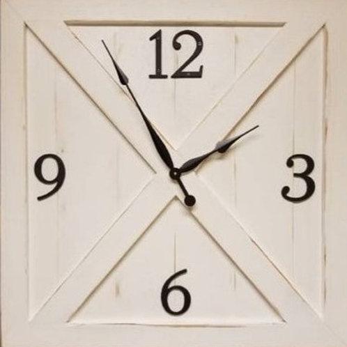 White Barn Door Farmhouse Wall Clock