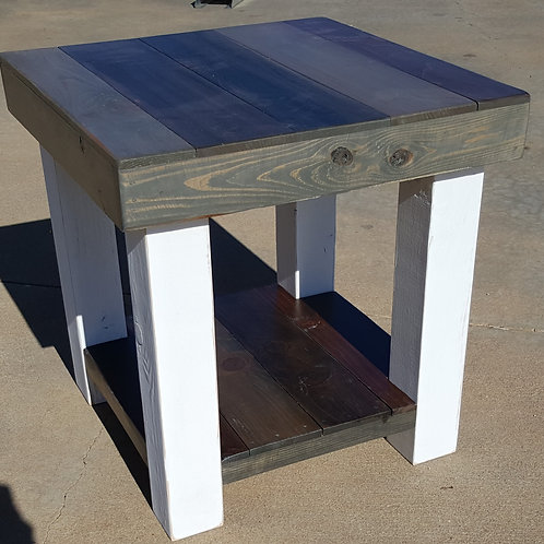 The Osage Farmhouse End Table with Lower Shelf