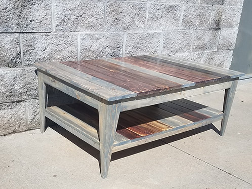 The Nantucket Farmhouse Coffee Table with Lower Shelf