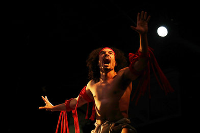 John Maria Gutierrez as Achilles in The Trojan Women at La Mama 2019, directed by Andrei Serban