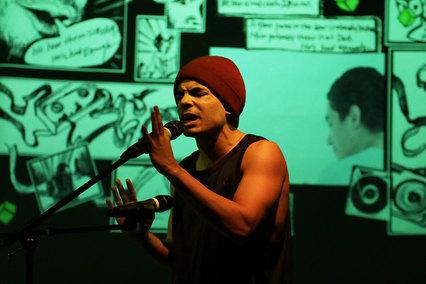 John Maria Gutierrez in Panorama presented at La Mama, directed by Motus/Great Jones Rep Company of La Mama