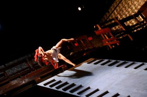 John Maria Gutierrez as Achilles in The Trojan Women at La Mama 2019, directed by Andrei Serban