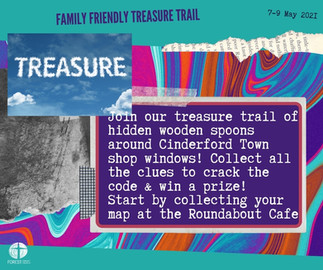 Family friendly treasure trail of hidden wooden spoons