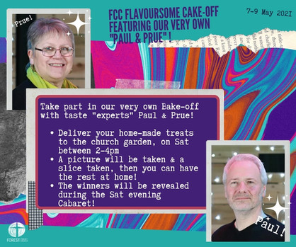 FCC flavoursome cake-off featuring our very own 'Paul & Prue'!