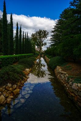 Agua alrededor del jardin