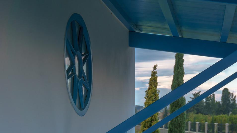 Detalles de la fachada de la residencia