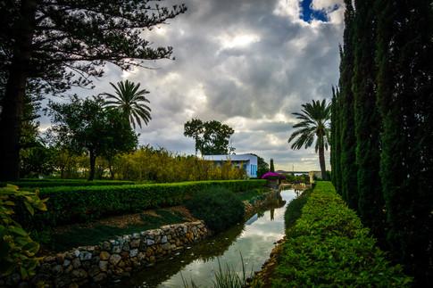 Vista del jardin y la casa donde solia quedarse Bahá'u'lláh