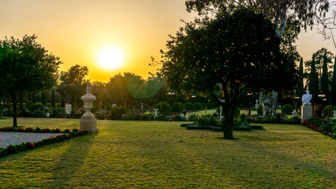 Sunset and view of the gardens in front of the Shrine