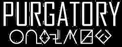 Purgatory Text logo white black outline.