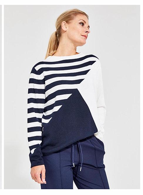 Suza - Pullover mit grafischen Muster, Blau-Weiß