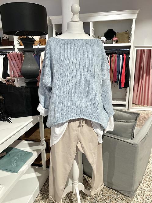 Vokuhila - Pullover Hellblau meliert