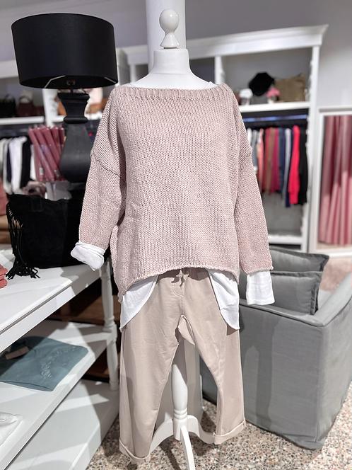 Vokuhila - Pullover Rosa meliert