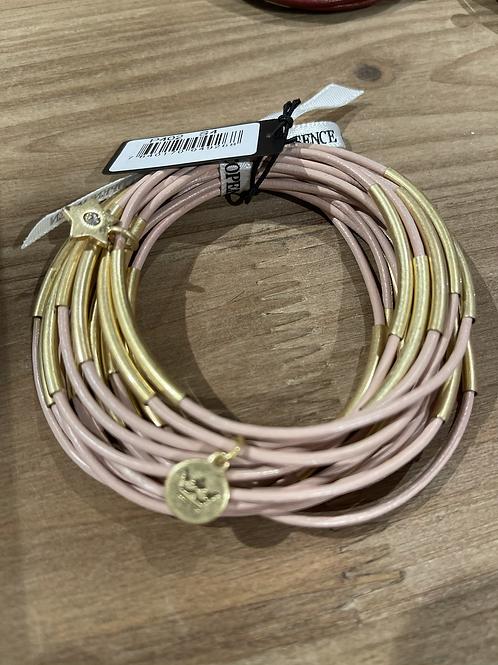 Sence - Lederarmband Rosa-Gold  (P402)