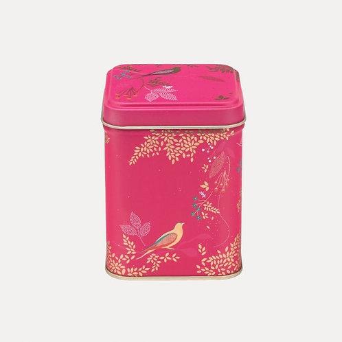 Kleine Metall-Dose von Sara Miller, pink mit Vögeln