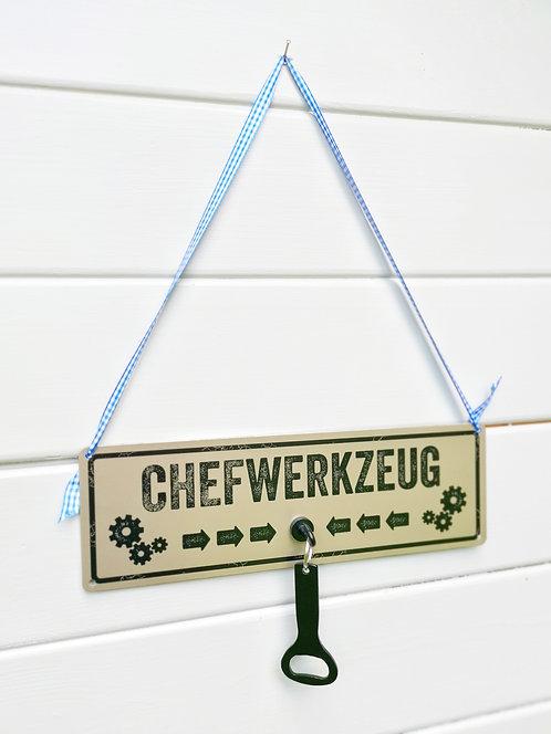 Schild mit Magnethaken & Flaschenöffner - Chefwerkzeug