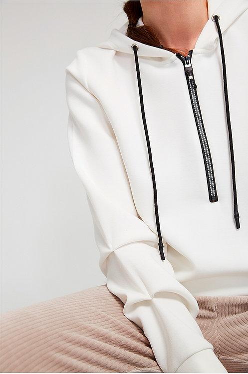 SuZa - Weißes Sweatshirt mit gerafften Ärmeln