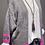Thumbnail: Kuschelige Strickjacke in Mittelgrau Neon-Rosa Streifen