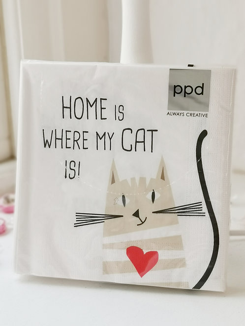 """Serviette """"Home is where my Cat is!"""""""