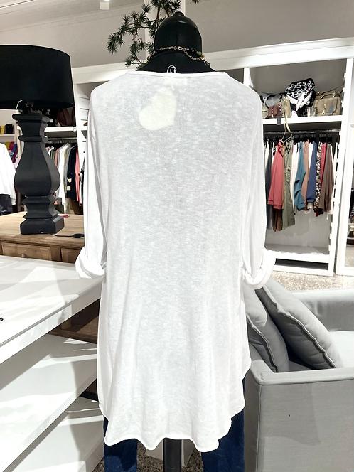 Vokuhila-Longshirt - Weiß
