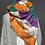 Thumbnail: Schal mit beige , orange, lila und grünen Streifen