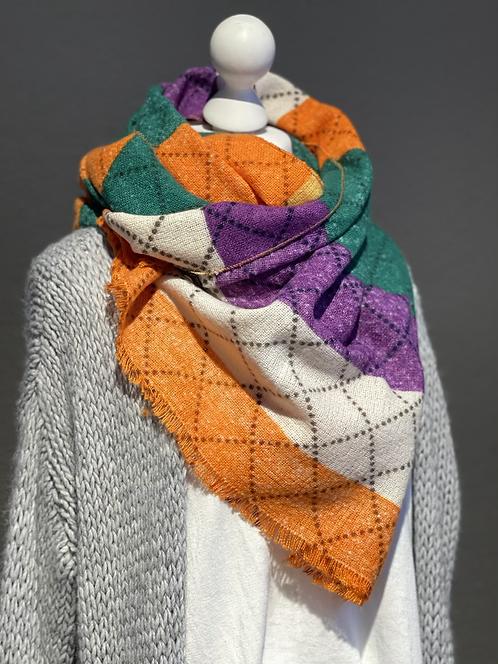 Schal mit beige , orange, lila und grünen Streifen